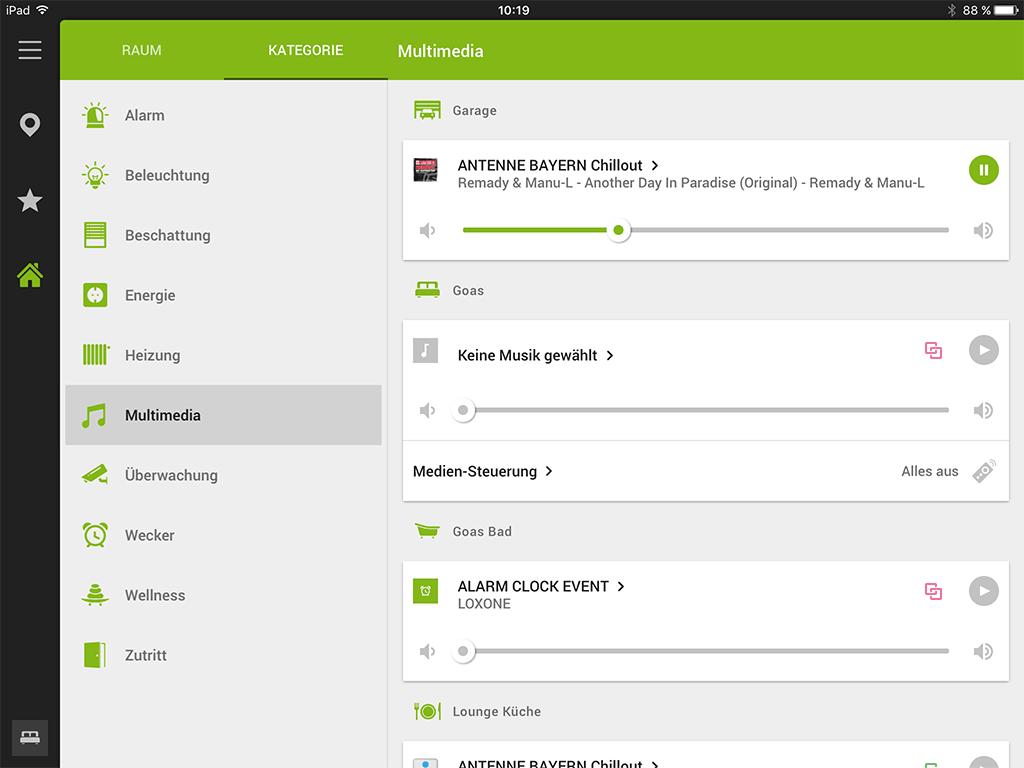 Loxone App: Musiksteuerung