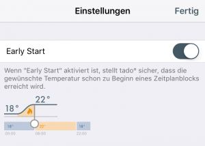 Intelligente Heizungssteuerung: Tado early Start