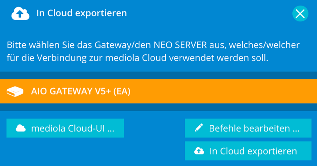 Mediola AIO Gateway V5 Plus: Cloud-Export