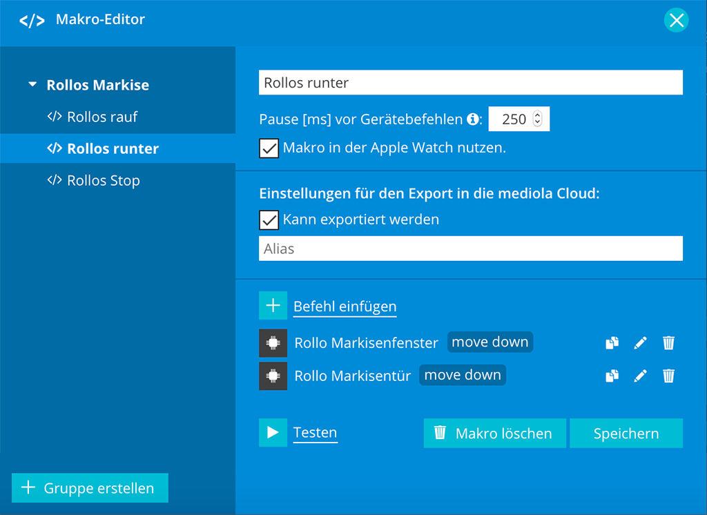 Mediola AIO Gateway V5 Plus: Makro-Editor