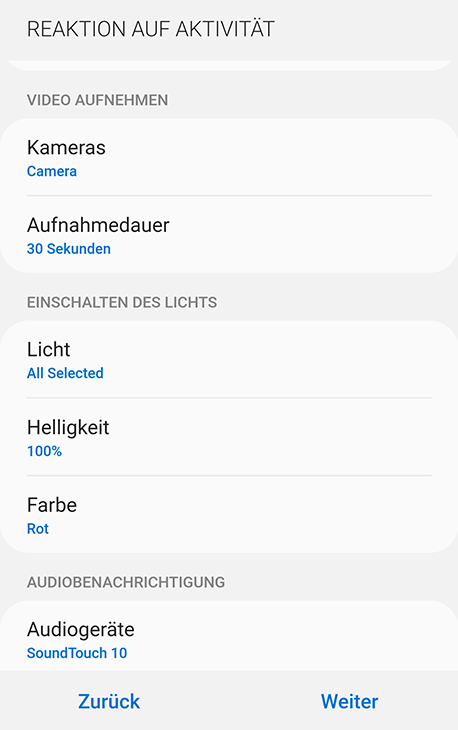 SmartThings App: V-Home Monitor Einstellungen