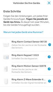 Ring Alarm Test: Komponenten anlernen